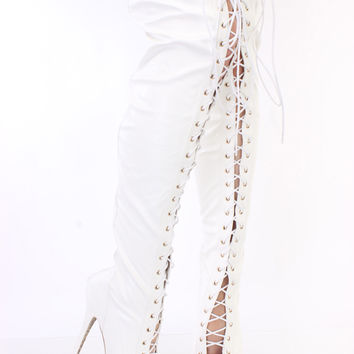 White Lace Up Thigh High Platform Boots