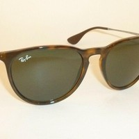 New RAY BAN Erika Sunglasses Tortoise Frame RB 4171 710/71 Green Lenses 54mm