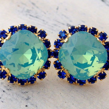 Mint opal and sapphire earrings, Blue crystal stud earrings,Swarovski crystal earrings,Bridesmaid earrings,Halo blue earrings,Bridal earring