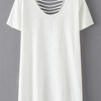 White Short Sleeve Ripped Hole Casual T-shirt