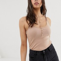ASOS DESIGN tank with button front in tobaccco | ASOS