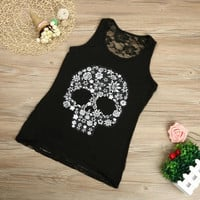 Plus Size S-5XL Tank Top Women  Fitness Work Out Back Lace Skull Print Sleeveless Tank Top For Women Black Pink White #418 BL