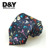 New 3 Inches/8cm Fashion Rainbow Guitar Musical Instruments Black Necktie Polyester Woven Classic Men`s Party tie Free Shipping