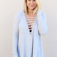Lace To My Lou Tunic {Gray}