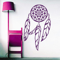 Dream Catcher Wall Decals Indian Amulet Lotus Design Feathers Home Interior Vinyl Decal Sticker Dorm Decal Mural Bedroom Wall Decor MR393