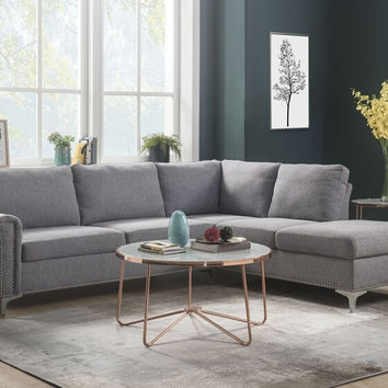 Acme 52755 2 pc Melvyn gray fabric sectional sofa with metal legs