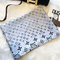 LV Louis Vuitton Fashion Women Monogram Smooth Silk Scarf Shawl Accessories(2-Color) Grey I-TMWJ-XDH
