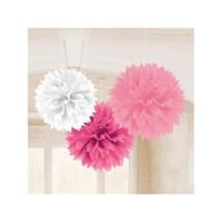 "Baby Shower Girl 16"" Fluffy Tissue Decorations (3 Pack) - Party Supplies - Walmart.com"