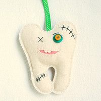 Boy Tooth Fairy pillow wool felt for boys Tooth Monster with pocket kids children gift