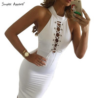 Simplee Apparel Winter Christmas white lace up women dress Sexy evening party midi bodycon dress new year vestidos de fiesta