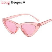 Long Keeper Sunglasses Women 2018 Vintage cateye Glasses Glitter Lenses Eyewear Brand Designer Candy Red Pink Yellow Sun glasses