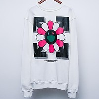 OFF-WHITE autumn new sunflower print long sleeve round neck pullover sweater white