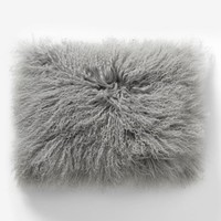 "Mongolian Lamb Pillow Cover– Platinum (12""x16"")"
