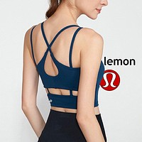Lululemon Women's Fitness Yoga High Stretch Sports Bra Underwear Backless Cross Blue