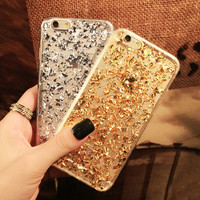 Gold Foil Bling Paillette Sequin Skin Clear Soft Silicone Fundas Cover Case For iPhone 5 5S 6 7 Plus Ultra Slim Rubber Back