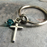 Silver Cross Charm Ring, Sterling Silver Dangle Ring, Christian Jewelry, Cross Jewelry, Blue Zircon Crystal