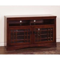 Sunny Designs Route 66 TV Console In Brown Cherry