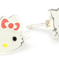 Hello Kitty Girl's Sterling Silver Pink Bow Stud Earrings
