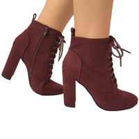 Revolution Lace Up Booties in Burgundy