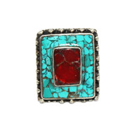 square turquoise gypsy ring