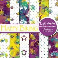 "Watercolor digital paper ""Happy Biking"", scrapbook, watercolor background, bicycle clipart pattern, invitations cards purple yellow blue"
