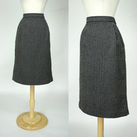 1980s wool skirt, black tweed houndstooth high waist plus size pencil skirt, XL, 12, Carlisle