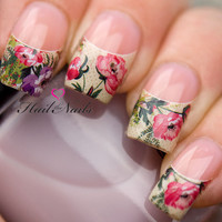 Old English Rose French Nail Tips Water Transfer Decals Nail Art Wraps Y072