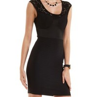 Black Pin-Tucks & Lace Bodycon Dress by Charlotte Russe