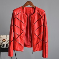 European Fashion Leather Jackets Women Casual Long Sleeve Patchwork Slim Fit PU Coat Simple O-Neck Basic Jacket Femininas C2135