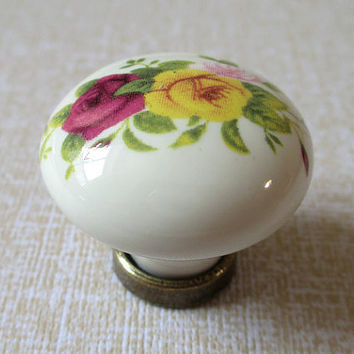Ceramic Knobs / Kitchen Cabinet Knobs / Dresser Knobs Pulls / Drawer Pull Handles / Red Yellow Flower Rose Antique Brass Knob Handle A07