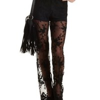 Sheer Lace Palazzo Pants by Charlotte Russe