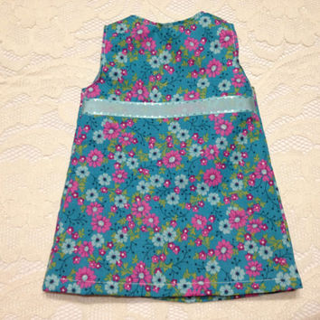 Blue and Pink Floral Short Dress/Long Shirt: fits American Girl and most 18 in dolls