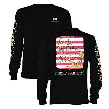 Simply Southern Preppy True Love Born in a Stable Long Sleeve T-Shirt