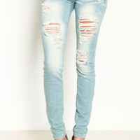 Light Wash Shredded Skinny Jeans - LoveCulture