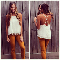 Fringe Cross Back Cami