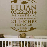 """18"""" X 23"""" Personalized Baby Birth Name Date Fishing Vinyl Wall Art Decal for Nursery.  Great Gift"""