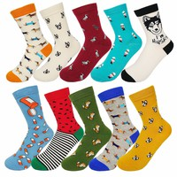 New fashion women men colorful dog cotton socks Spring couple lover Casual Pill Fox neutral red sock Hot