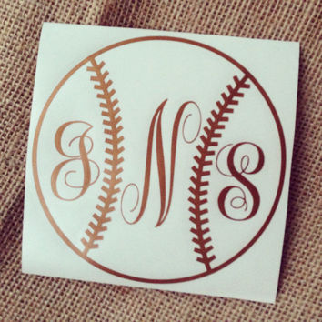 Baseball Car Decal Monogram Decal Monogram Vinyl Decal Monogram Gift Monogram sticker Car Initials Vinyl Initials Vinyl Lettering