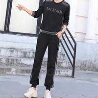 """Balmain"" Women Casual Fashion Letter Round Neck Long Sleeve Trousers Set Two-Piece Sportswear"