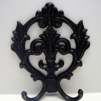 Fleur de lis Cast Iron Modern Glam Black Wall Double Hook Ornate French Decor Paris Shabby Chic Leash Jewelry Cap Bathroom Distressed Hooks