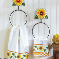Set of 2 Decorative Kitchen or Bath Sunflower Towel Holder Country Home Decor