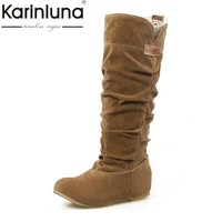 KARINLUNA new arrivals casual add warm fur big size 34-43 women boots fashion Slip on winter shoes woman fashion autumn
