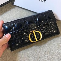 Dior Fashion new leather wallet purse handbag women Black