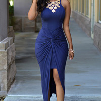 Blue Sleeveless Wrap Ruched Open Front  Bodycon Maxi Dress