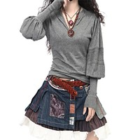 Fashion New Arrival Cashmere Sweater Winter V-Neck Lantern Sleeve Sweater Pullovers Women's Long Sleeve