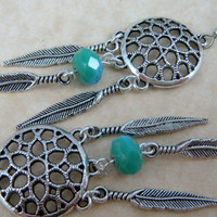 Dream Catcher Earrings in Antiqued Silver with Turquoise Rondelle