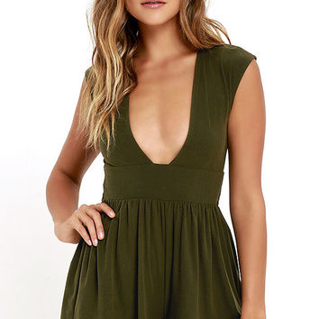 State of Play Olive Green Romper
