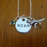 """Toy Movie Inspired Necklace. T Rex """"ROAR"""" Dinosaur necklace. Tyrannosaurus Rex necklace. Swarovski Elements crystal, for women or girls."""