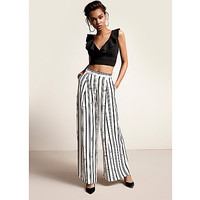 Black stripe print wide leg pants - Wide Leg Pants - Pants - women