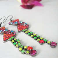 Bow dangle earrings with colorful rhinestones - Dainty bows - colorful jewelry